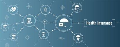 Insegna di web dell'assicurazione malattia -- Icona dell'ombrello messa con CI medico illustrazione di stock