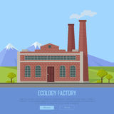 Insegna di web della fabbrica di ecologia Fabbricazione di Eco Fotografia Stock Libera da Diritti