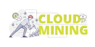 Insegna di web di estrazione mineraria della nuvola illustrazione vettoriale