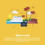 Insegna di web di turismo di crociera di viaggio di acqua illustrazione vettoriale