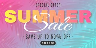 Insegna di web per la vendita di estate su un fondo multicolore con le palme Offerta speciale Affare caldo Iscrizione creativa vo illustrazione di stock