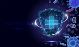 Insegna di web di vettore di protezione del virus, modello della pagina del sito Web royalty illustrazione gratis