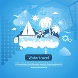 Insegna di web di viaggio di acqua con lo spazio della copia su fondo blu illustrazione di stock