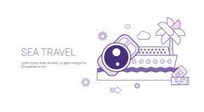 Insegna di web di viaggio per mare e di turismo di crociera di estate di concetto di vacanza con lo spazio della copia illustrazione di stock