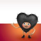 Insegna divertente della tenuta del fumetto del cuore del nero del biglietto di S. Valentino illustrazione di stock