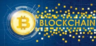 Insegna dorata Blockchain del bordo di circuito di comunicazione dati di Bitcoin Illustrazione Vettoriale