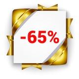 Insegna dorata di sconto 3d Fondo del quadrato bianco legato con la costola Fotografia Stock Libera da Diritti