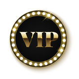 Insegna dorata di VIP con le luci Fotografia Stock