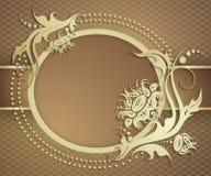 Insegna dorata elegante della struttura Fondo floreale di lusso Immagine Stock