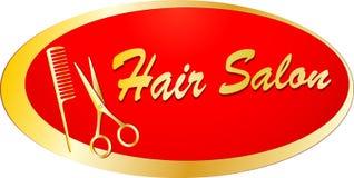 Insegna dorata per il barbershop Immagine Stock