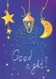Insegna e carta della buona notte Immagini Stock Libere da Diritti