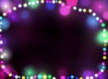 Insegna e confine del bokeh delle luci del nuovo anno e di Natale Immagine Stock Libera da Diritti