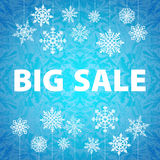 Insegna e neve del fondo di vendita di inverno Natale Fotografia Stock
