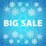 Insegna e neve del fondo di vendita di inverno Natale Nuovo anno Vettore Fotografia Stock