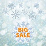 Insegna e neve del fondo di vendita di inverno Natale Nuovo anno Vettore Fotografia Stock Libera da Diritti