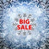 Insegna e neve del fondo di vendita di inverno Natale Nuovo anno Vettore Immagine Stock