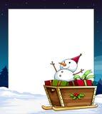 Insegna e pupazzo di neve Fotografia Stock Libera da Diritti