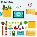 Insegna ed icone dell'alimento di consegna Immagine Stock Libera da Diritti