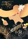 Insegna elegante del migliore partito di estate con le foglie tropicali, la polvere dorata e la ragazza in un cappello enorme di  illustrazione di stock