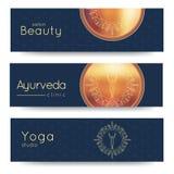 Insegna elegante di vettore di yoga Modelli professionali dell'insegna per lo studio di yoga, sito Web di yoga, rivista di yoga,  Fotografie Stock