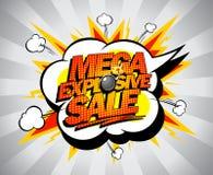 Insegna esplosiva mega di vendita. Fotografie Stock