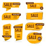 Insegna, etichetta, vettore, sconto, progettazione, vendita, offerta, speciale, b Fotografia Stock