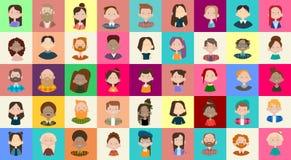 Insegna etnica della corsa della miscela folla casuale della gente del gruppo di immagine dell'avatar dell'icona di profilo diver Immagine Stock Libera da Diritti