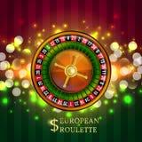 Insegna europea di gioco delle roulette Fotografia Stock