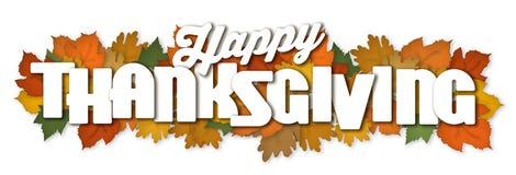 Insegna felice Art Autumn Leaves di ringraziamento illustrazione di stock