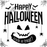 Insegna felice del testo di Halloween Fotografia Stock