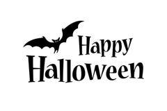 Insegna felice del testo di Halloween con un pipistrello illustrazione vettoriale