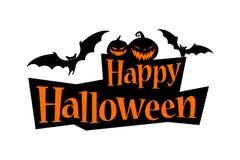 Insegna felice del testo di Halloween con un pipistrello e le zucche royalty illustrazione gratis