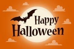 Insegna felice del testo di Halloween con un pipistrello su fondo della luna illustrazione di stock