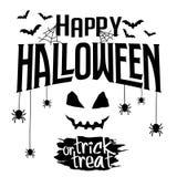 Insegna felice del testo di scherzetto o dolcetto e di Halloween Immagine Stock