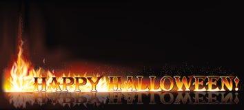 Insegna felice dell'invito di Halloween del fuoco Immagini Stock