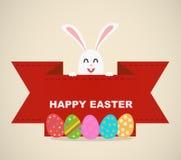 Insegna felice dell'uovo del coniglietto di pasqua Fotografia Stock