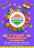 Insegna felice di festa dell'indipendenza Immagine Stock