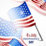 Insegna felice di festa dell'indipendenza con il testo del 4 luglio Immagine Stock