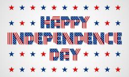 Insegna felice di festa dell'indipendenza per festa nazionale di U.S.A. Vettore i Immagini Stock Libere da Diritti