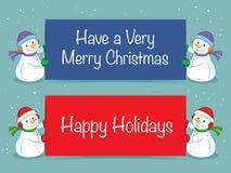 Insegna felice di feste con il pupazzo di neve Fotografia Stock Libera da Diritti