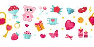 Insegna felice di giorno del ` s del biglietto di S. Valentino Insieme delle icone sveglie, amore romanzesco Modello per il vostr royalty illustrazione gratis