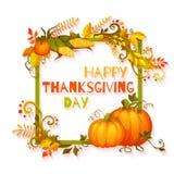 Insegna felice di giorno di ringraziamento con i fiori e Fotografie Stock
