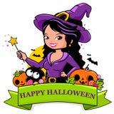 Insegna felice di Halloween della strega, del gatto e delle zucche illustrazione vettoriale