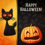 Insegna felice di Halloween - gatto nero curioso e Fotografia Stock Libera da Diritti
