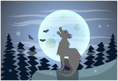 Insegna felice di Halloween di notte di Wolf Howling On Moon At Immagine Stock