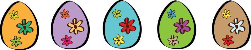 Insegna felice di Pasqua con un'illustrazione di cinque uova fotografia stock libera da diritti