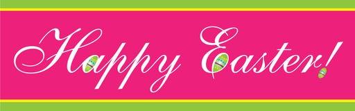 Insegna felice di Pasqua nel rosa Fotografia Stock Libera da Diritti