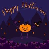 Insegna felice di vettore della cartolina di Halloween illustrazione di stock
