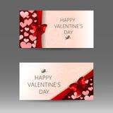 Insegna felice di vettore di giorno del ` s del biglietto di S. Valentino con i cuori e l'arco rosso Immagini Stock