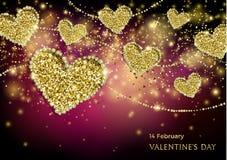 Insegna festiva della scintilla di giorno di biglietti di S. Valentino Fotografie Stock